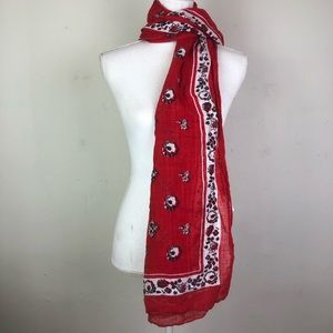 "Gap Red Black & White Linen Cotton Scarf 25"" x 67"""
